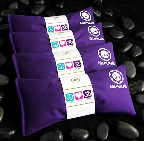 Happy Wraps Namaste Yoga Eye Pillows - Lavender Eye Pillows for Yoga - Weighted Aromatherapy Eye Pillow Mask for Yoga - Stress Relief and Relaxation Gifts Hot Cold Therapy - Set of 4 - Purple Cotton