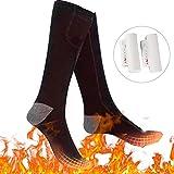 Bilisder Beheizte Socken Elektrisch Thermosocken Wandern Warme Wintersocken für Damen Herren (Schwarz)