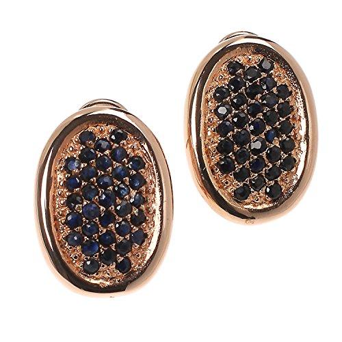 Plata de ley 925Rose Oro Rose Oro Mujer Omega Clips pendientes con Negro Azul Saphire en pave