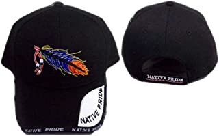 Native Pride Embroidered Baseball Caps 4 Color Tone Feather (CapNp601Z)