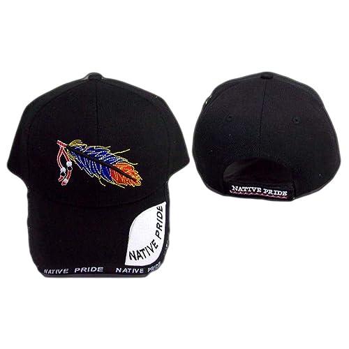 Native Pride Embroidered Baseball Caps 4 Color Tone Feather (CapNp601Z) 100ba9840c30
