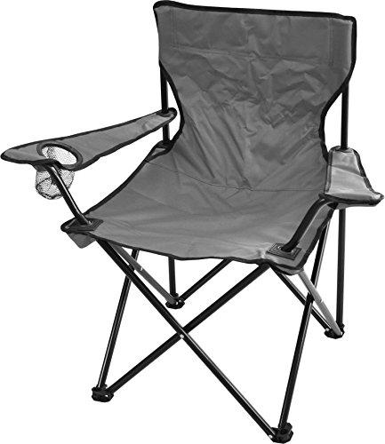 normani Campingstuhl Faltstuhl Klappstuhl Anglerstuhl Getränkehalter Stuhl Gartenstuhl für den Sommer Farbe Grau mit Armlehne