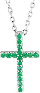 Jewels By Lux 14k White Gold Emerald Cross 16