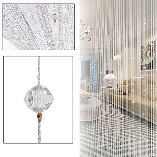Epaynetwork Perlenschnur Vorhang Türteiler Weiße Kristall Perlen Vorhang Quaste Dekorative Tür Schnur Perlen für Hochzeit Wohnzimmer Badezimmer Café Restaurant