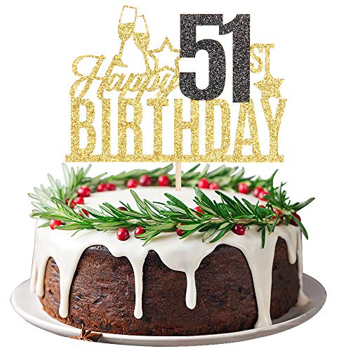 Happy 51st Birthday Cake Topper - Fifty one-year-old Cake Topper, 51st Birthday Cake Decoration, 51st Birthday Party Decoration (Gold and Black)