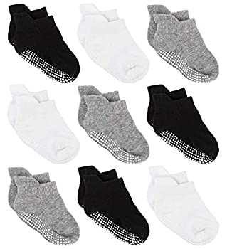 Zaples Baby Non Slip Grip Ankle Socks with Non Skid Soles for Infants Toddlers Kids Boys Girls Assorted 9 Pack 12-36 Months