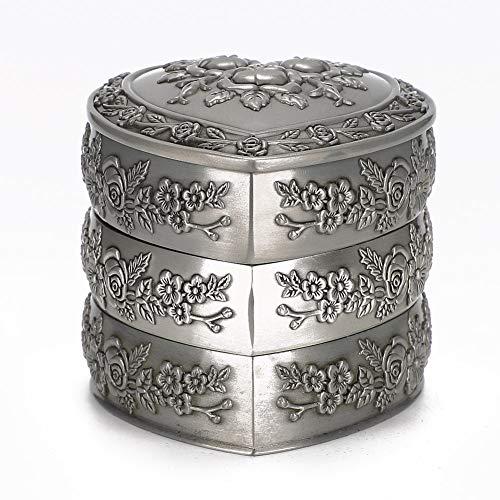 OIHODFHB 3 capas hogar estilo europeo retro decorativo en forma de corazón caja de joyería contenedor de joyería