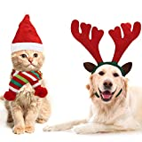 Disfraz Mascota Navidad (Pack de 3) - Set Cinta para Cabeza de Astas de Reno, Sombrero de Papá Noel y Bufanda de Navidad a Rayas - Disfraz Perro Accesorio Mascotas para Gato, Cachorro, Catito