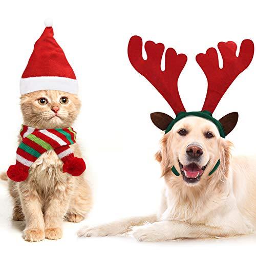 BELLE VOUS Weihnachtskostüme für Hunde & Katzen (3-er Pack) - Rentier Geweih Stirnband, Nikolaus Mütze, Schal Gestreift – Weihnachtskostüm Verkleidung Set Tiere für Hund, Katze, Welpe, Kätzchen