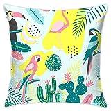 shizh Tukan und Flamingos Dekor Dekokissen Kissenbezüge Platz Kissenbezüge 45x45 cm Für Sofa...