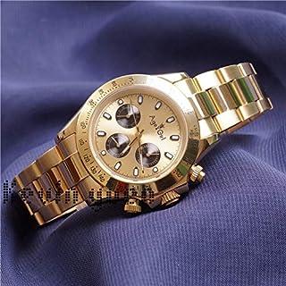 JFfactory - JFfactory Reloj mecánico automático para Hombre Nuevo clásico, Reloj clásico de Cristal de Zafiro de Acero Inoxidable Negro Dorado Completo AAA + 40mm