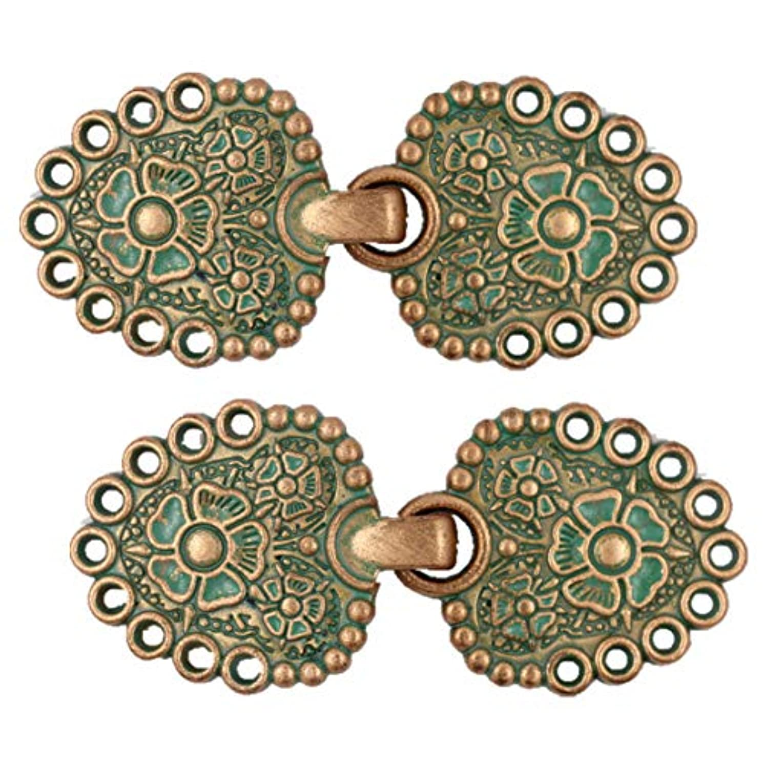 Bezelry Romantic Bouquet Hook and Eye Cloak Clasp Fasteners Pack of 4 Pairs 62mm x 25mm Fastened. (Copper Green)