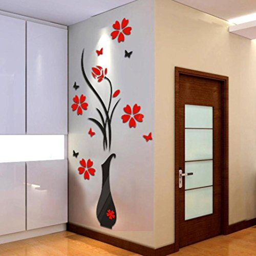 wandaufkleber wandtattoos Ronamick DIY Vase Blumen Baum Kristall Acryl 3D Wandaufkleber Aufkleber Home Decor Wandtattoo Wandaufkleber Sticker Wanddeko (A)