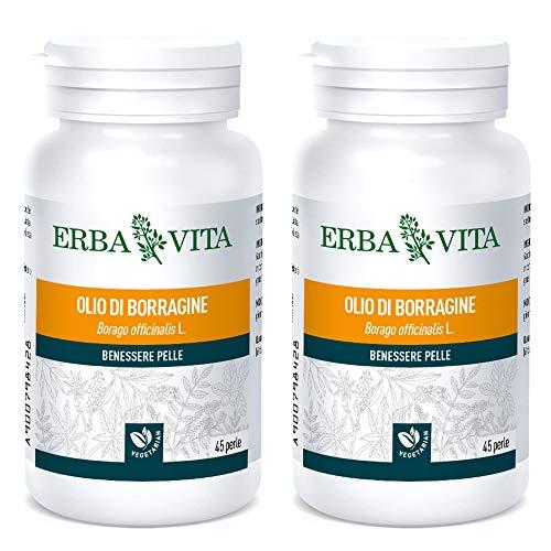 2 x Erbavita – Aceite de borragina – 45 perlas de 700 mg   Vitaminas y sales minerales   Paquete de 2 paquetes de 45 comprimidos cada una   de regalo tisaniamo