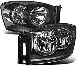 ZMAUTOPARTS Dodge Ram 1500 2500 3500 Pickup Truck Crystal Headlights Lamp Black Set