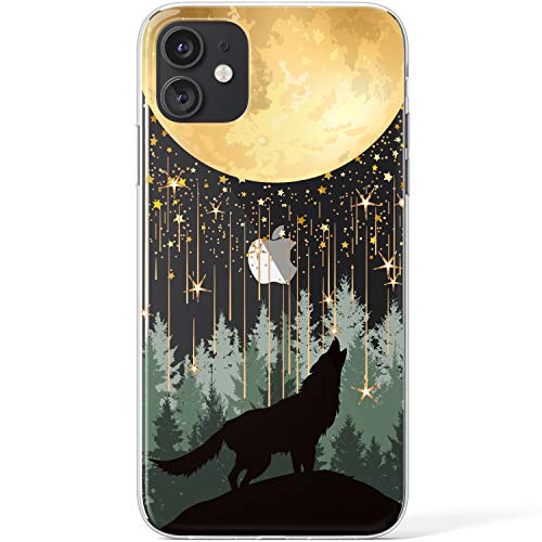 Mertak Clear Case Compatible with iPhone 12 Pro Max Mini 11 SE 10 Xr Xs 8 Plus 7 6s 5s Stars Wolf Lightweight Silicone Moonlight Celestial Howling Design Protective Cover Girls Slim Flexible TPU Women