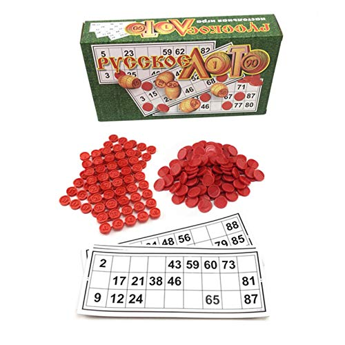 XIAOTIAN Bingo Brettspiel | Das Italienische Glücksspiel Für Familie, Freunde Und Große Gruppen Bis Zu 24 Spieler | Enthält 90 Bingokarten, 4 Bingopapiere Und 40 Plastik-Bingochips