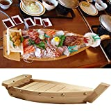 Madera Sushi Barco Bandeja, Creative Boat-Shaped Japonés Cuisine Sushi Barco Sashimi Plato para Fiesta Foods, Snacks - Como en la Imagen Show, G