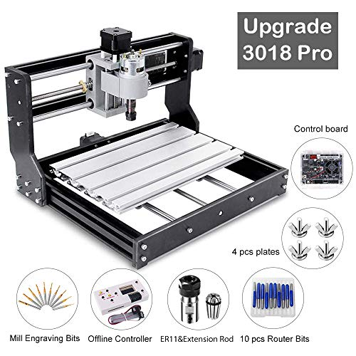【New Version】Upgrade CNC DIY 3018 Pro GRBL Control DIY Mini CNC Machine, 3 Axis PCB Milling Machine, Wood Router Engraver with Offline Controller XYZ Working Area 300x180x45mm.
