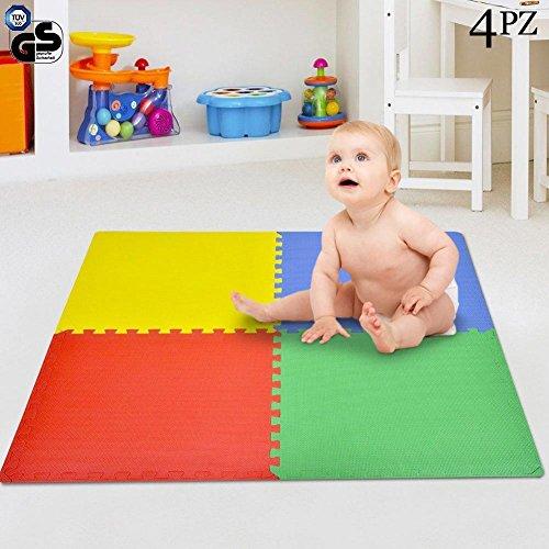 Bakaji Tappeto Puzzle 4 pezzi 60 x 60 cm Multicolore in morbida gomma EVA resistente, isolante, lavabile, Tappetino da gioco per bambini Superficie Colorata per Giocare, 4 Tasselli Maxi
