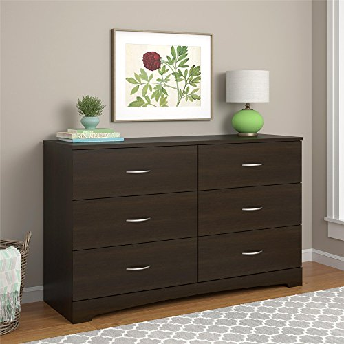 Ameriwood Home Crescent Point 6 Drawer Dresser, Espresso