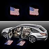 2Pcs LED Car Door Universal Wireless Car Door Light Courtesy Door Light Door Welcome Courtesy Puddle Light Fit for All Cars,Trucks,SUVs,Trailers,RVs etc (US Flag)