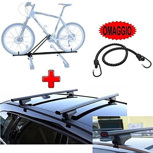 Compatible con BMW Serie 2 Active Tourer 5P 2019 Barras portaequipajes para techo de coche de 130 cm + portabicicletas de techo para 1 bicicleta Barra para reequipamiento tanto altos como bajos.