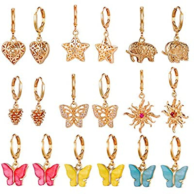 9 Pairs Gold Small Spike Hoop Earrings for Women-Gold Mini Hoop Dangle Earrings with Charm- Spike Huggie Hoop Earrings Set for Teen Girls and Women Huggy Hoop Earrings Gift for Teens (#1)