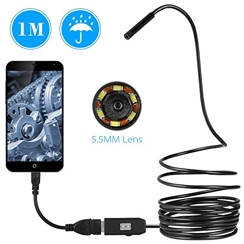 Wifi Endoscope iPhone Cable Handheld Borescope for iOS and Android Smartphone 16.4ft Waterproof Semi-Rigi 2.0 Megapixels HD Digital Inspection Camera with 8 LEDs and 5 Meters iPad,Tablet Samsung