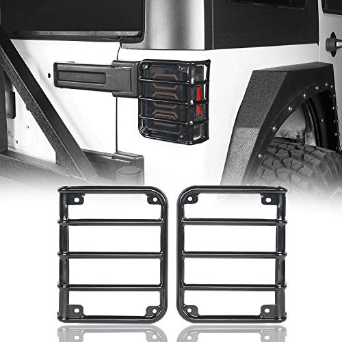 u-Box Rear Tail Light Guards Cover Gloss Black Euro Taillight Cover for 2007-2018 Jeep Wrangler JK Unlimited JK Taillights Brake Light Protector - Pair