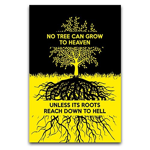 WPQL Motivationsposter 'No Tree Can Grow Carl Jung Poster For the self who is working hard', Wandkunst, Heimdekoration, Leinwandbild, 40 x 60 cm