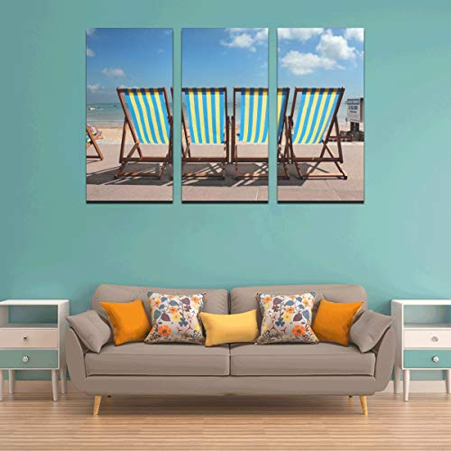 THKDSC 3 Panel Bathroom Art Wall Decor Row of Deck Chairs On Beach Best Wall Decor Canvas Wall Art for Women Paints Wall Decor for Home Living Room Bedroom Bathroom Wall Decor Posters