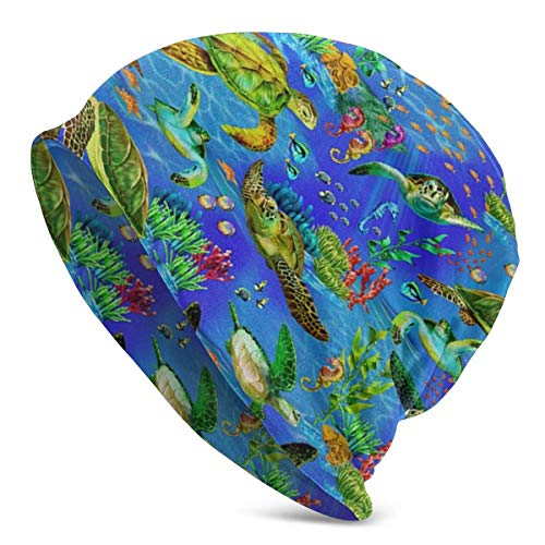 AEMAPE Gorro unisex bajo el agua del mundo del arco iris Seaturtles Cálido Cráneo Tejido, Unisex Slouchy Soft Headwear Cuffed Cap