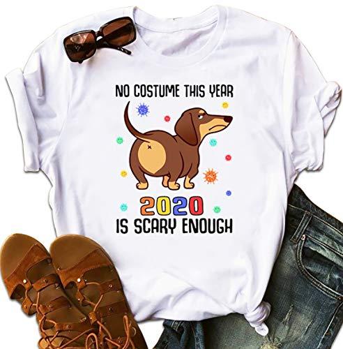 Dachshund No Costume This Year 2020 is Scary Enough Coronavirus T-Shirt Christmas Tshirt for Family Hoodie Long Sleeve Sweatshirt Sweater
