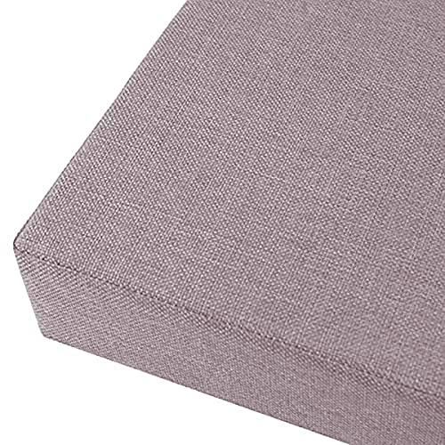 MMYing Cojín de algodón y lino con correas antideslizantes, relleno de esponja de alta densidad, cómodo cojín para columpio, patio, interior y exterior (gris, 180 x 35 x 2 cm)