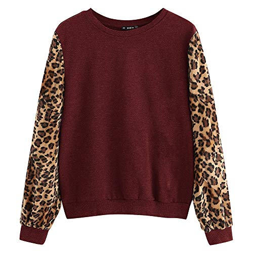 Aniywn Women's Casual Sweater Tops Loose Long Sleeve Leopard Print Pullover Patchwork Sweatshirt Blouse Red