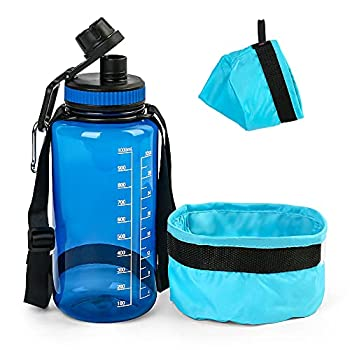 PrimePets Dog Water Bottle Collapsible Dog Bowl Set for Traveling 1000ml / 32oz Pet Drinking Bottle with Spout Lid Foldable Fabric Pet Bowl with Carabiner for Outdoor Hiking and Walking