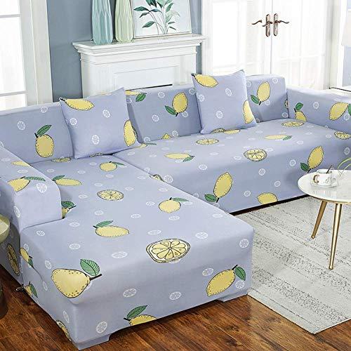 DSDD Funda de sofá elástica Fundas de sofá Estampadas Funda de sofá para sofá en Forma de L Funda Protectora de 1 Pieza para Muebles con Fondo elástico-e 4 plazas 235~300cm (93-118 Pulgadas)