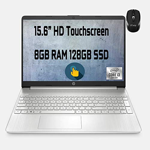 "Flagship HP Business Laptop 15.6"" Diagonal HD Touchscreen 10th Gen Intel Core i3-1005G1 (Beat i5-7200U) 8GB RAM 128GB SSD Intel UHD Graphics USB-C HDMI Wifi5 Win10 + iCarp Wireless Mouse"