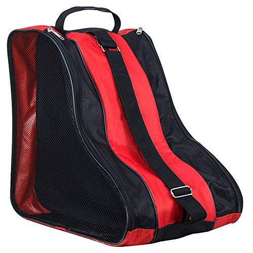 LINVINC Bolsa para Patines Unisex - Patines de Hielo Skate Bag Mochila Protecciones Patines en Linea Adulto Niños Rojo