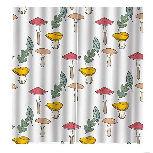 VBUEFM Cortinas Impresas en 3D Planta de Hojas Rojas Amarillas Verdes Blancas Cortinas Opacas Térmicas Aislantes Frío Calor Ruido Luz Rayos para Salón Oficina Dormitorio 85x200cm x2