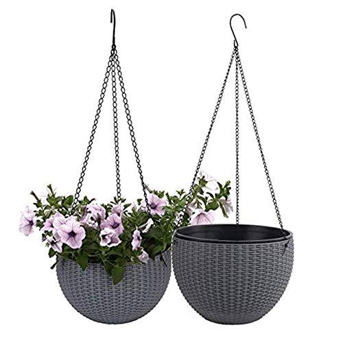 Cxssxling 2Pcs Suspendre Intérieur Extérieur Pot de Fleurs à Suspendre Panier Rond pour Plantes de Jardin en résine à Suspendre Décoration de Pots de Fleurs (Gris)