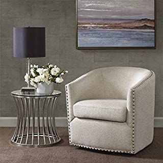 اسعار Madison Park Tyler Swivel Chair - Solid Wood, Plywood, Metal Base Accent Armchair Modern Classic Style Family Room Sofa Furniture, Natural