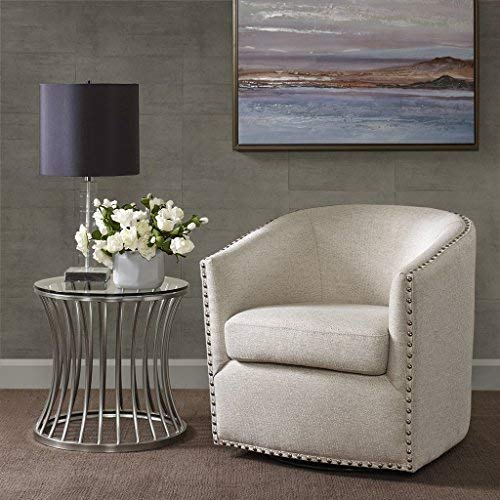 Madison Park Tyler Swivel Chair - Solid Wood, Plywood, Metal Base Accent Armchair Modern Classic Style Family Room Sofa Furniture, Natural