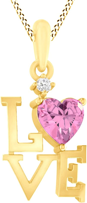 AFFY 925 Sterling Silber Simulierte Turmalin & weie Zirkonia Doppelherz-Anhnger Halskette für Frauen Mdchen (18 Karat GelbGold)