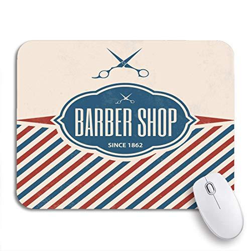 Adowyee Gaming Mauspad Pole Retro Barber Vintage Barbershop Salon Zeichen Schere Haar rutschfeste Gummi Backing Mousepad für Notebooks Computer Mausmatten