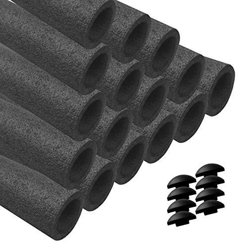 AWM Trampolin Schaumstoffpolster anthrazit, Schaumstoff Schaumstoffrohre inkl. Kappen Stangenschutz- Set (12x 840 mm)