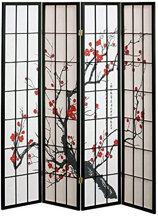 SQUARE FURNITURE Plum Blossom Screen Design 4 Panel