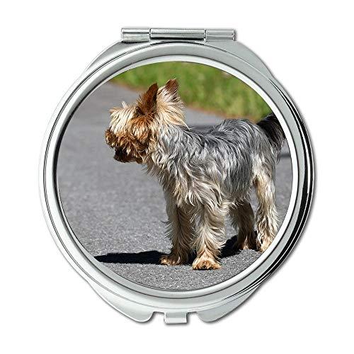 Yanteng Spiegel, Reise-Spiegel, Hund Kleiner Kleiner Hund Weg Straße Yorki reinrassiger Hund, Taschenspiegel, tragbarer Spiegel