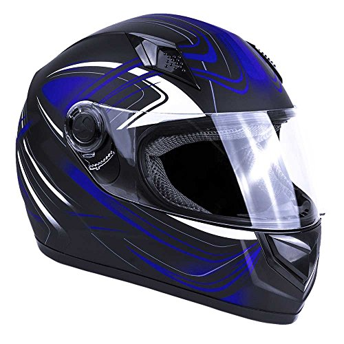 Typhoon Adult Full Face Motorcycle Helmet DOT - SAME DAY SHIPPING (Matte Blue, X-Small)